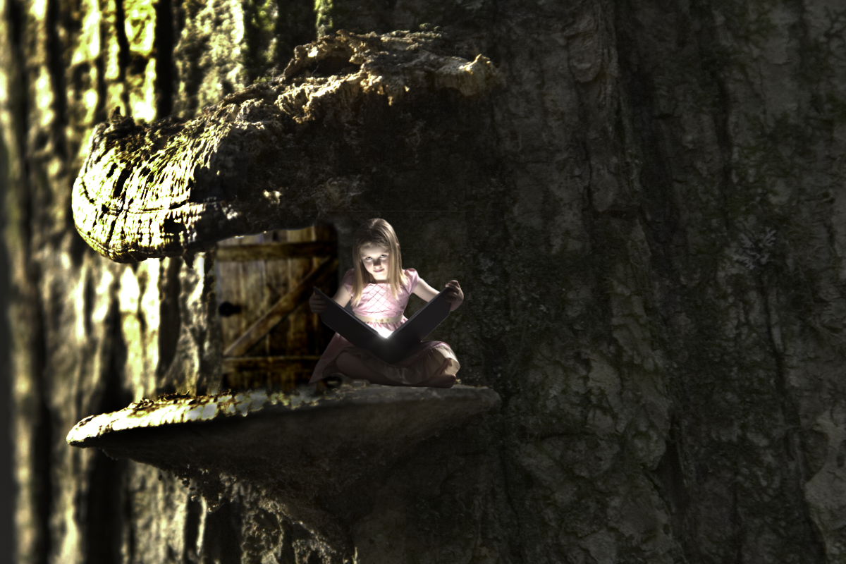 Fairy girl reading magic book in tree mushroom
